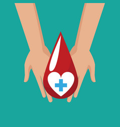 donate blood hand hold drop cross vector image vector image