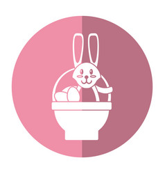 easter rabbit inside egg basket shadow vector image vector image