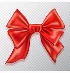 festive bow red satin isolated on checkered vector image