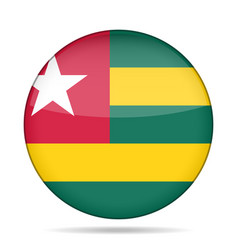 flag of togo shiny round button vector image