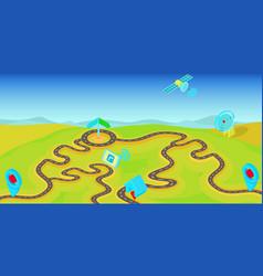 gps navigation horizontal banner cartoon style vector image vector image