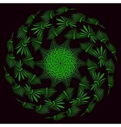 green leaves on black background vector image