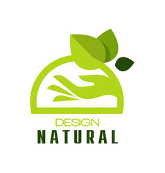 natural design eco premium quality green label vector image vector image