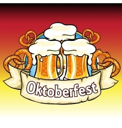 Oktoberfest label with beer and pretzels vector image