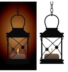Old iron antique lantern lamp vector image