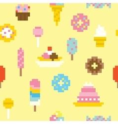 Pixel art sweets seamless pattern vector image vector image