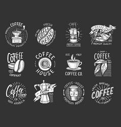 set of coffee logos modern vintage elements for vector image