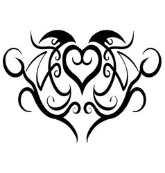 abstract heart tribal tattoo design vector image vector image
