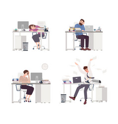 collection of depressed people at work tired male vector image