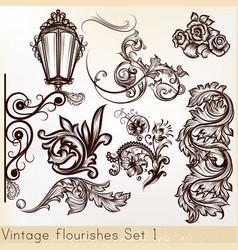collection vintage design elements vector image