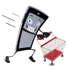 Mobile phone runs with empty shopping cart vector image vector image