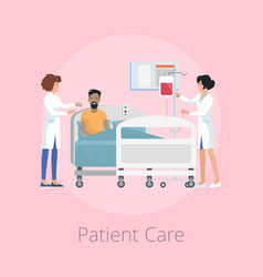 patient care and nurses on vector image