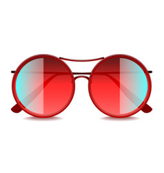round red sunglasses isolated on white vector image vector image