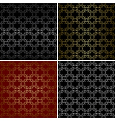 seamless patterns with curved golden elements vector image