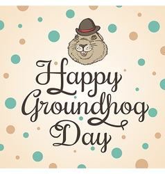 Card for Groundhog Day with marmot vector image