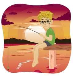 Little sad nerd boy fishing on lake at sunset vector image