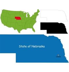 Nebraska map vector image vector image