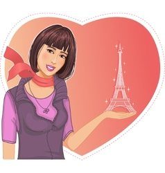 Lovely girl holds an Eiffel tower in hand on a vector image vector image