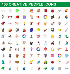 100 creative people icons set cartoon style vector image