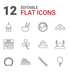 12 culture icons vector