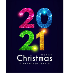 2021 happy new year banner with shining sequins vector image