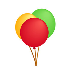 3 party balloons isometric 3d icon vector
