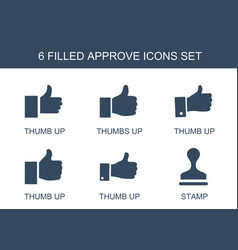 6 approve icons vector image