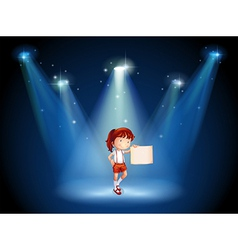 A stage with a girl holding an empty signage in vector image