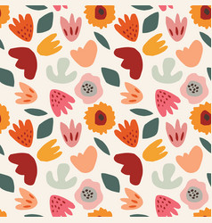 Abstract floral seamless pattern hand drawn vector