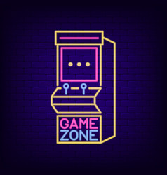 Arcade game machine neon sign game zone night vector