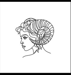 Aries zodiac sign woman face with horns linear vector