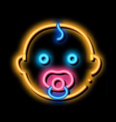 Baby child head neon glow icon vector