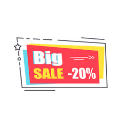 big sale promo sticker in square shape frame 20 vector image