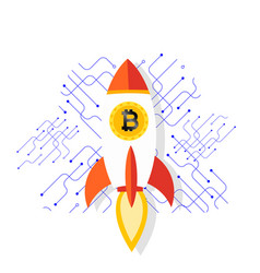 Bitcoin rocket ship launching into space im vector