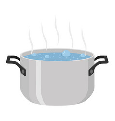 boiled soup in pot meal with vegetables meat vector image