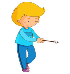 Boy with marshmallow on stick vector