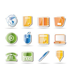 business and office tools icons vector image