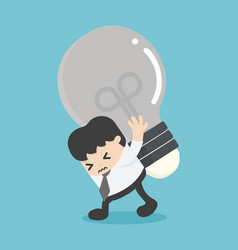 Businessman carrying light bulbs with many vector