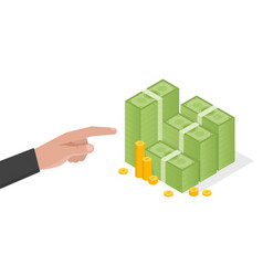Businessman hand points a stack of green dollars vector