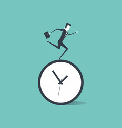 Businessman running on time clock vector