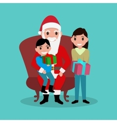 Cartoon Santa Claus sitting in chair with children vector image