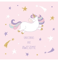 Cartoon unicorn on the starry sky with glitter vector