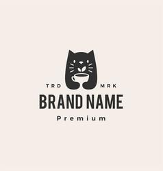 cat tea cup drink leaf hipster vintage logo icon vector image