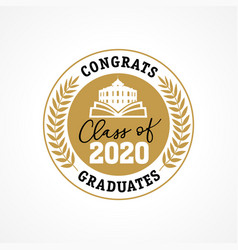 class 2020 golden wreath congrats graduates vector image
