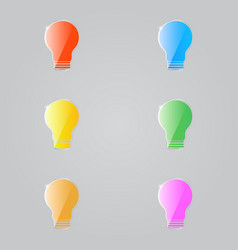 colored shiny electric lamps on a gray background vector image