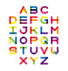 colorful font and alphabet alphabet letter vector image
