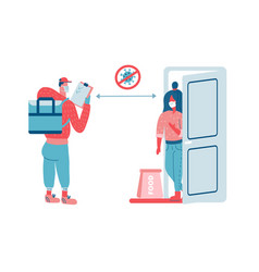 Contactless food delivery concept scene vector