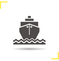 cruise ship with waves icon vector image