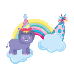Cute and little hippo with party hat and rainbow vector