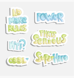 cute cartoon funny quotes sticker quotes about vector image